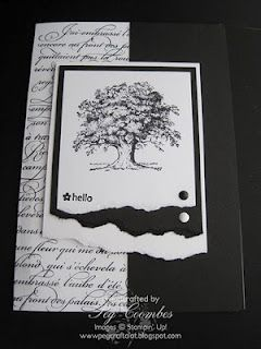 http://www.pegcraftalot.com/2010/08/black-and-white-oak-tree.html Stamps Used Lovely as a Tree En Francais big background stamp Tiny Tags