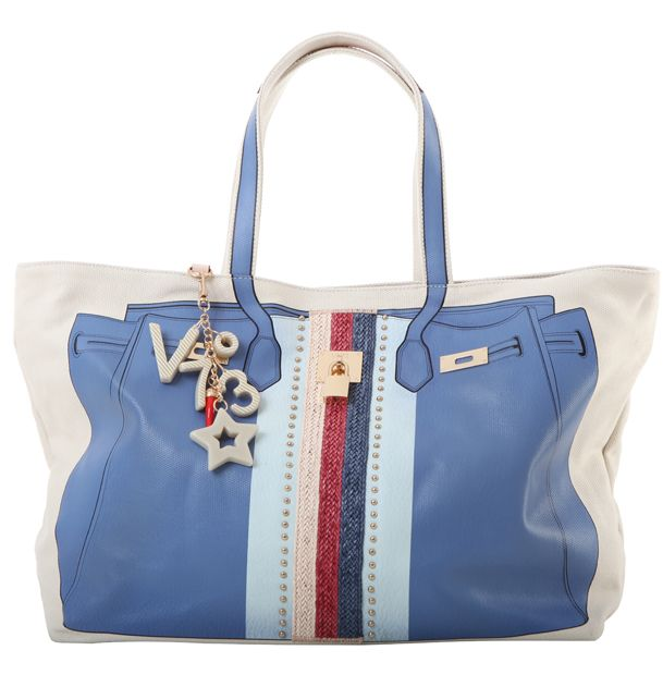 #V73 Bandes #Rafia #Bag Sky  #Shop online: https://www.v73.us/classic-icone/bandes-rafia-bag Concealed magnetic snap closure, PU printed pattern in both sides with raphia insert, Four internal patch pockets, Two internal zip pockets, Fully lined, Charm shown in photo included, Metal feet at the base, 100% COH: 35 cm W: 55 cm D:18 cm