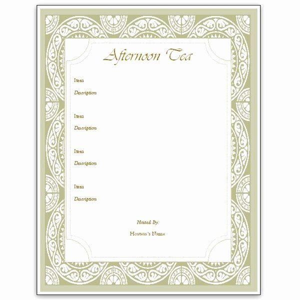 Menu Template Free Printable Best Of Hosting A Tea Download An