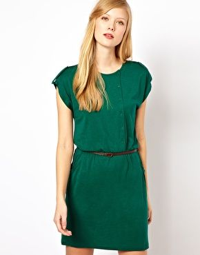 Enlarge Sessun Jersey Dress with Leather Belt and Button Detail - Asos  #sdNightOut