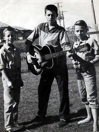The Bee Gees (L to R: Robin, Barry, and Maurice) at home in Redcliffe, Queensland, Australia, ca. late 1950's v@e