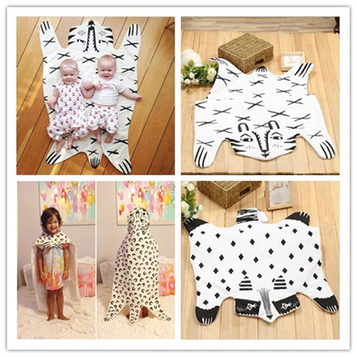 2017 Hot Sale Europe Baby Blanket Tiger Blanket Bear 100% Cotton Children Room Carpets Baby Crawling Mat Game Rugs Autumn Winter