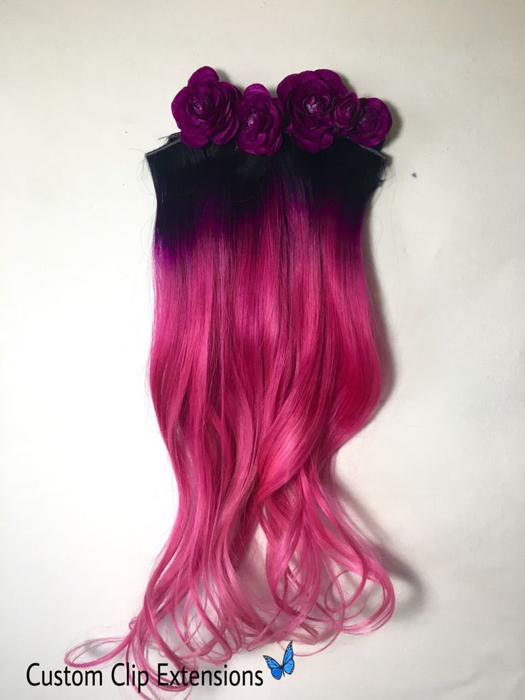 Ombre Human Hair Extensions Hot Pink Magenta and with black roots Clip in or Tape style Hair Streaks 18 inches long by CustomClipExtensions on Etsy