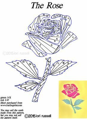 The Rose on Craftsuprint designed by Lori Russell - This is a rose cut out with an iris folding pattern underneath. - Now available for download!: