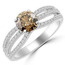 Champagne Brown Diamond Engagement Ring 18k Gold