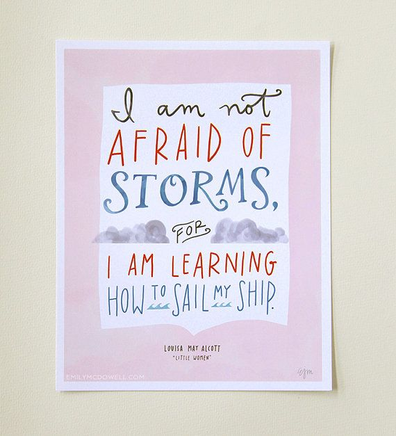 """Design Mom Collection: Louisa May Alcott """"Little Women"""" Not Afraid of Storms Quote, Hand-Lettered Print, 8"""" x 10"""" Print"""
