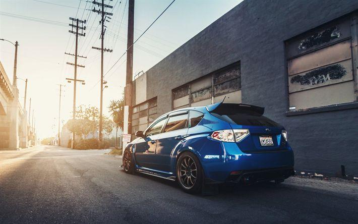Download wallpapers Subaru Impreza WRX, blue hatchback, tuning Impreza, Japanese cars, Japan