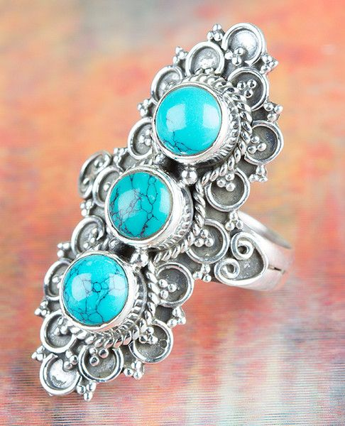 Turquoise Jewellery – Handmade Silver Turquoise Ring BJR-370-TU – a unique product by Midas-Jewelry on DaWanda