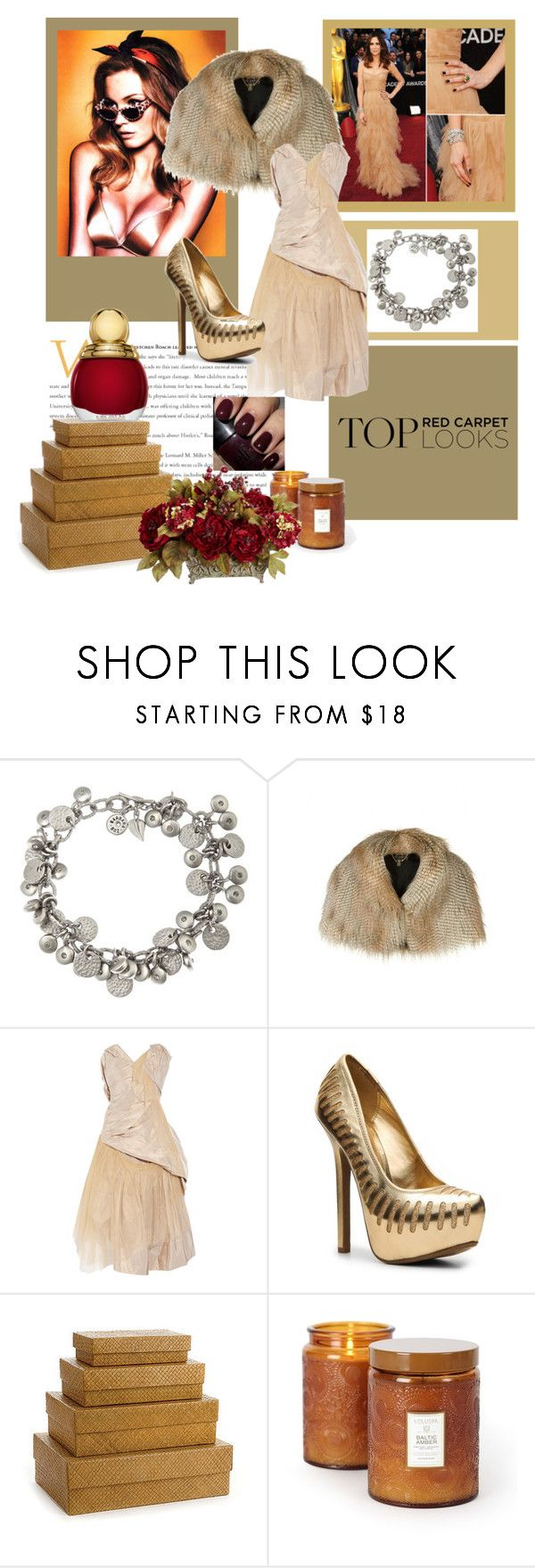"""""""Energize Your Own Red Carpet Style"""" by cigoehring ❤ liked on Polyvore featuring Style Naturale, Ted Baker, Vivienne Westwood Gold Label, Anne Michelle, Voluspa, spiked heels, red velvet nail polish, cropped shrug, satin bra and taffeta"""