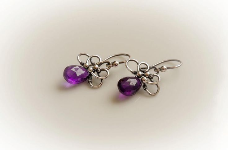 amethyst silver earring wire wrapped silver earring