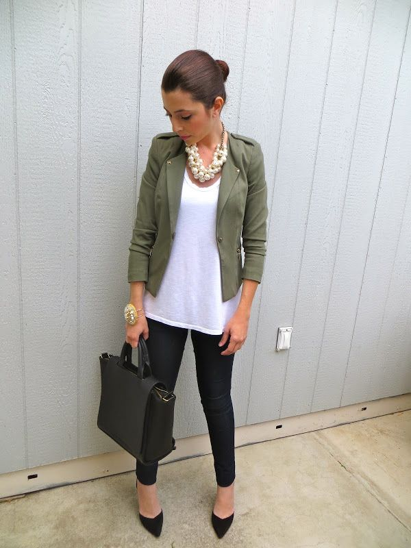 Black skinny pants, white oversized T, olive green jacket, black heels