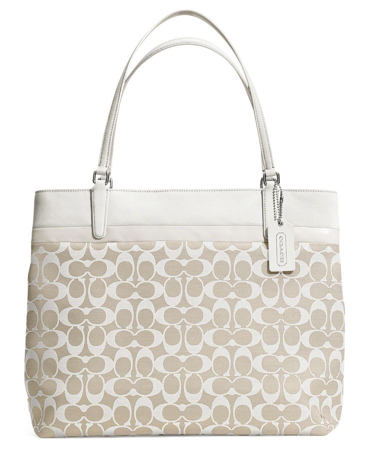 Coach small tote in signature print. White and khaki. Find this Pin and  more on Coach \u0026 MK bags ...