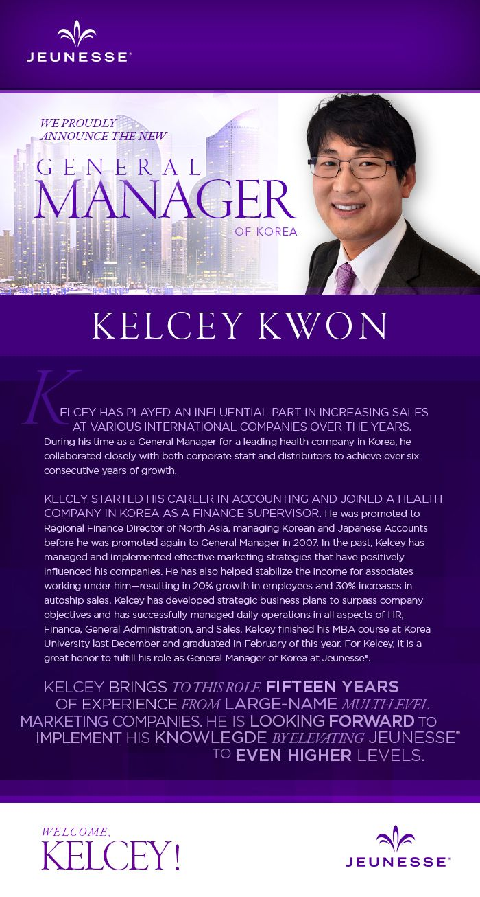 Jeunesse Global Korea New General Manager KELCEY KWON