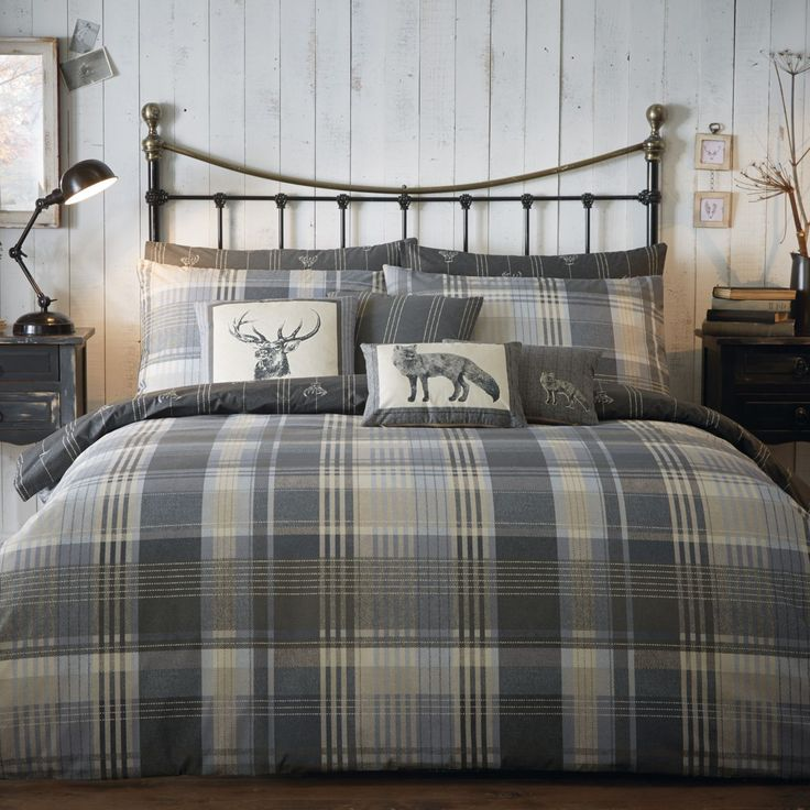 Tartan-100-Brushed-Cotton-Flannelette-Duvet-Cover-Set-Reversible-Stag-Bedding