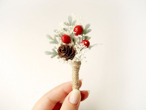 Mens wedding boutonniere by NoonOnTheMoon  Perfect for a rustic winter wedding!