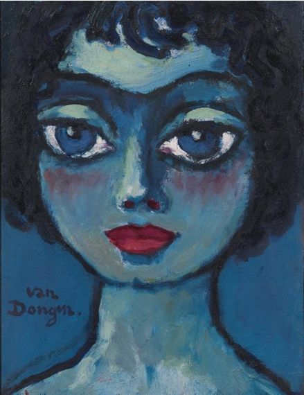 Painting by Kees van Dongen, 1920, Symphonie Bleue, Oil on panel.