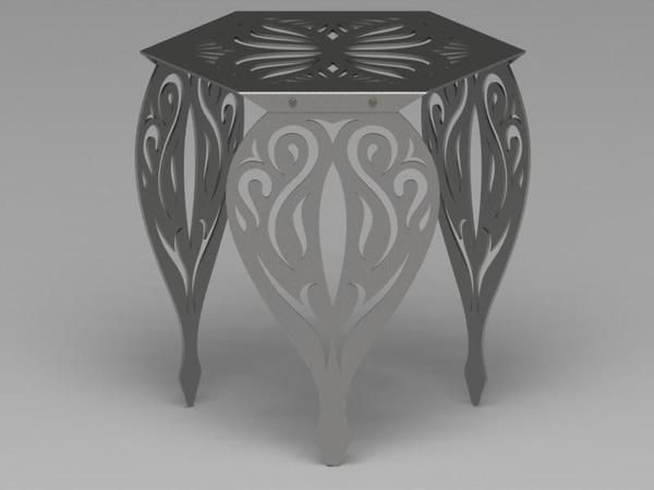 Hexagon Butterfly Table with Traditional Ornamental Style Scroll Legs