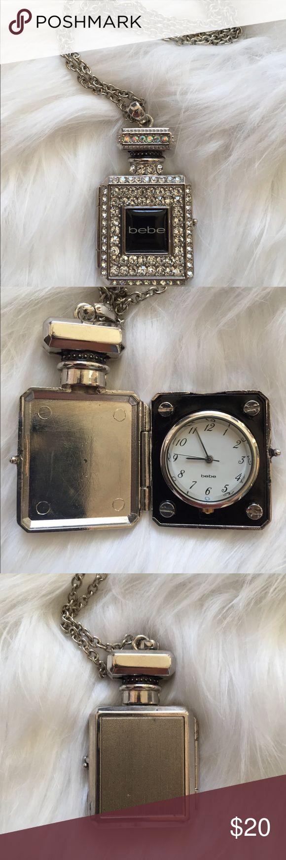 Bebe perfume bottle clock locket Bebe locket long necklace. No missing stones clock just needs a new battery. bebe Jewelry Necklaces