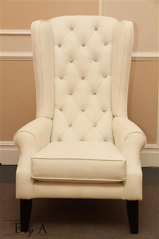 White with Diamond Pins - Bridal King & Queen Chairs - anne@ebya.co.za