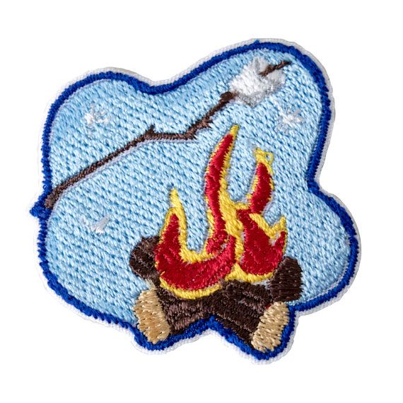 Camp Fire Embroidered Patch, Campfire, Boy Scouts, Camp Patches, School, Patches, Boys Patches, Embroidery, Iron On, Sew On, Custom