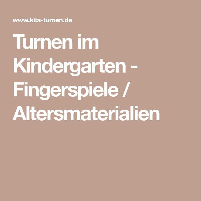 Turnen im Kindergarten - Fingerspiele / Altersmaterialien