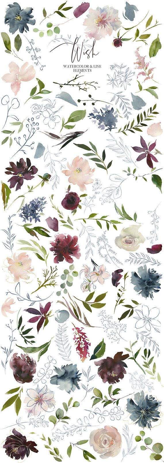 Wish Bordo & Navy Watercolor Floral Clipart Burgundy Red Pink Dusty Blue Flowers PNG Elements Bouque