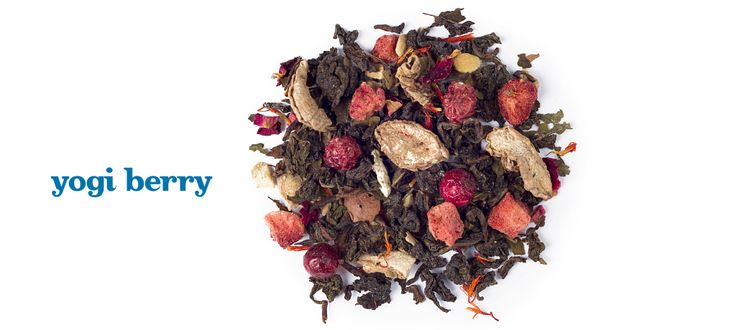 Yogi Berry - Oolong tea, ginger, sweet blackberry leaves, strawberry, safflower petals, raspberry, red currants, red rose petals, kombucha dry concentrate, natural red fruit and ginger flavouring