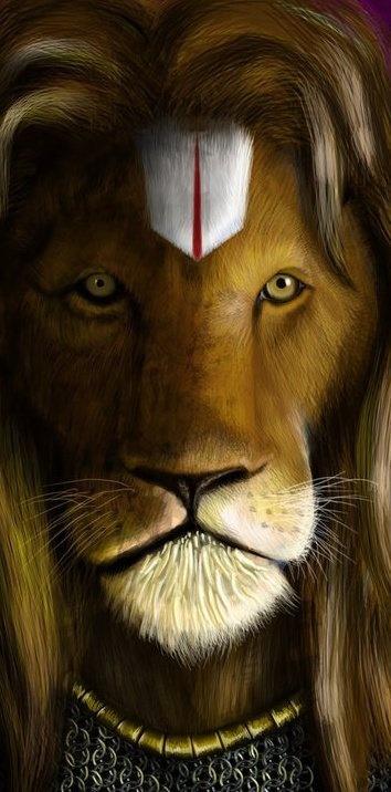 May 13 2014. Lord Narasimha. Be prayerful as he is extra strong + available, main aim of the Narasimha incarnation was to end the tyranny, restore the path of Dharma. Clears neg. energy from enviro., evil eye (jealousy, hatred, enmity) + spirits. Narasimha Ta Va Da So Hum (Nah-rah-seem-ha tah vah dah soh huhm)...if repeated mentally with humility as it destroys ego resets Dharma.