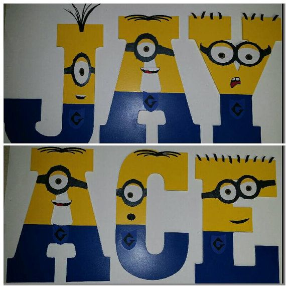 Despicable Me Wooden Minion Letters. Minion Name Personalized for Bedroom or Child's Party! Minion Party! Painted wooden letters numbers