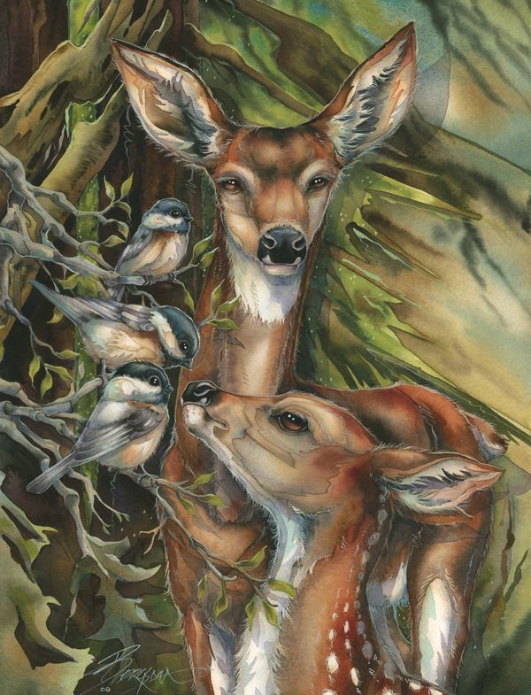 Bergsma Gallery Press :: Paintings :: Natural Elements :: Wild Land Animals :: Hooved Animals :: You Are So Deer To Me - Prints
