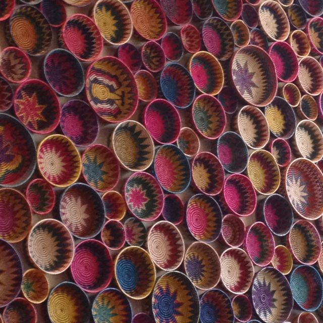 Colorful baskets - wall decor at El Bajio restaurant in Planco, Mexico City