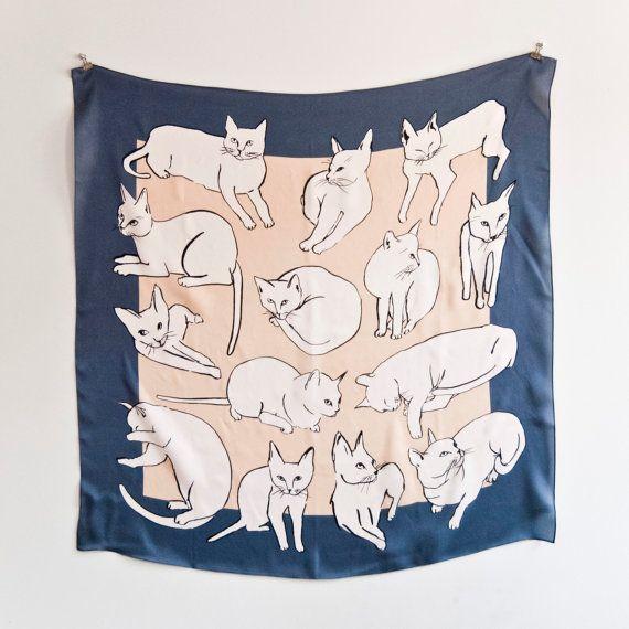 silk cat scarf by Leah Goren