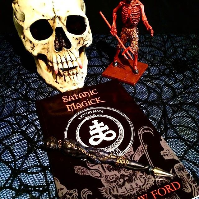 """HORNED DEVIL SKULL now 8% off! 8"""" tall hand painted resin great for almost any ritual altar. $23.99 (sale!) Also pictured,  DIABOLUS statue, 4"""" x 2.5"""" x 6.25. This is the classic diabolus representing self liberation and rebellion against oppression! $19.99  SATANIC MAGICK - PARADIGM OF THERION by Michael W. Ford. This grimoire presents the  magickal paradigm based on the mythology of the Antichrist as well as texts of the Black Mass written in Latin.  #diabolus #thedevil #occult…"""