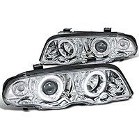 Cheap BMW E46 4Dr Sedan 323i 328i Halo Projector Headlights Chrome sale