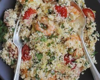 Taboulé de boulgour aux crevettes : http://www.fourchette-et-bikini.fr/recettes/recettes-minceur/taboule-de-boulgour-aux-crevettes.html