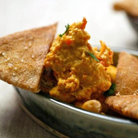 Red Pepper Hummus with Toasted Pita Triangles #apps #spread #appetizer ...