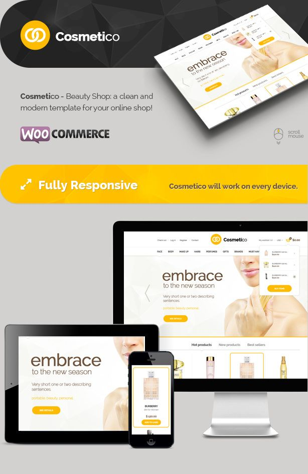 Cosmetico Theme feature #wordpress #woocommerce