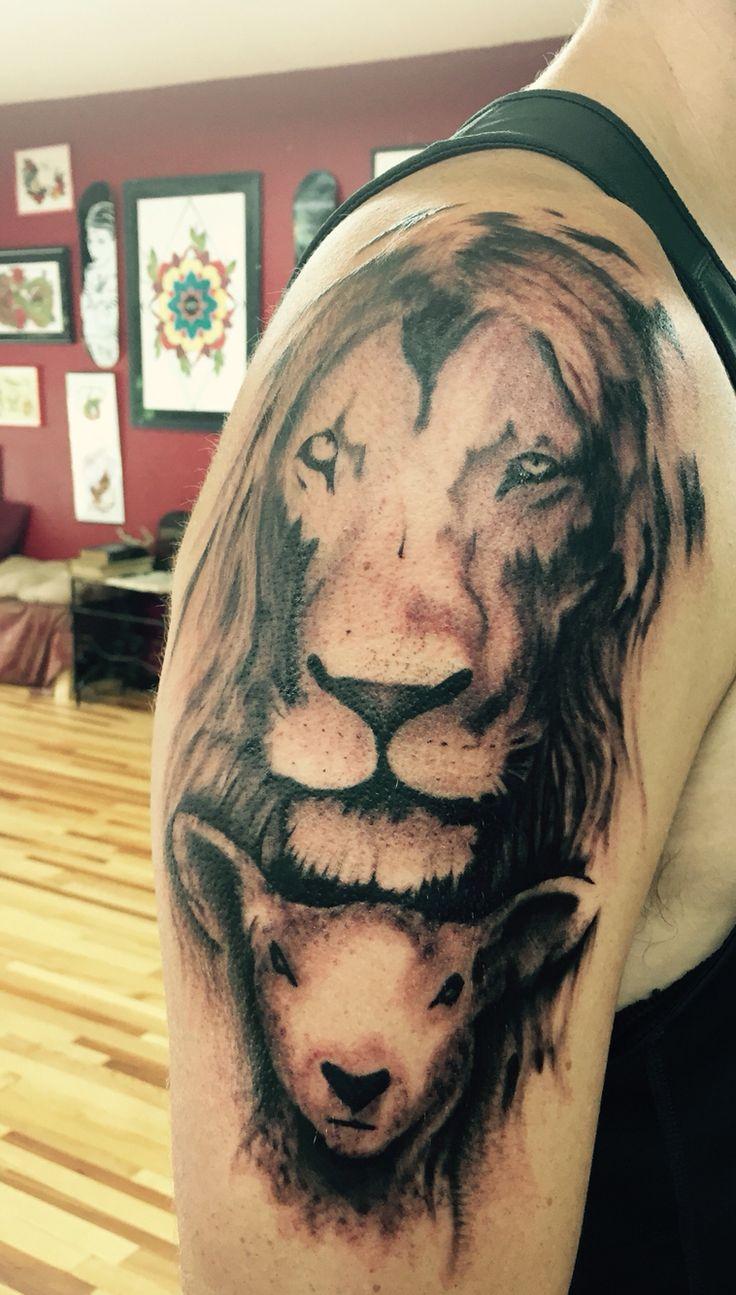 Christian Lion & Lamb Tattoo - sleeve in progress
