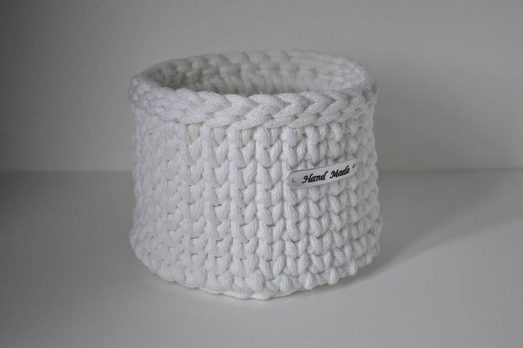 White crochet basket/ small storage basket/ home decor by iKNITSTORE on Etsy