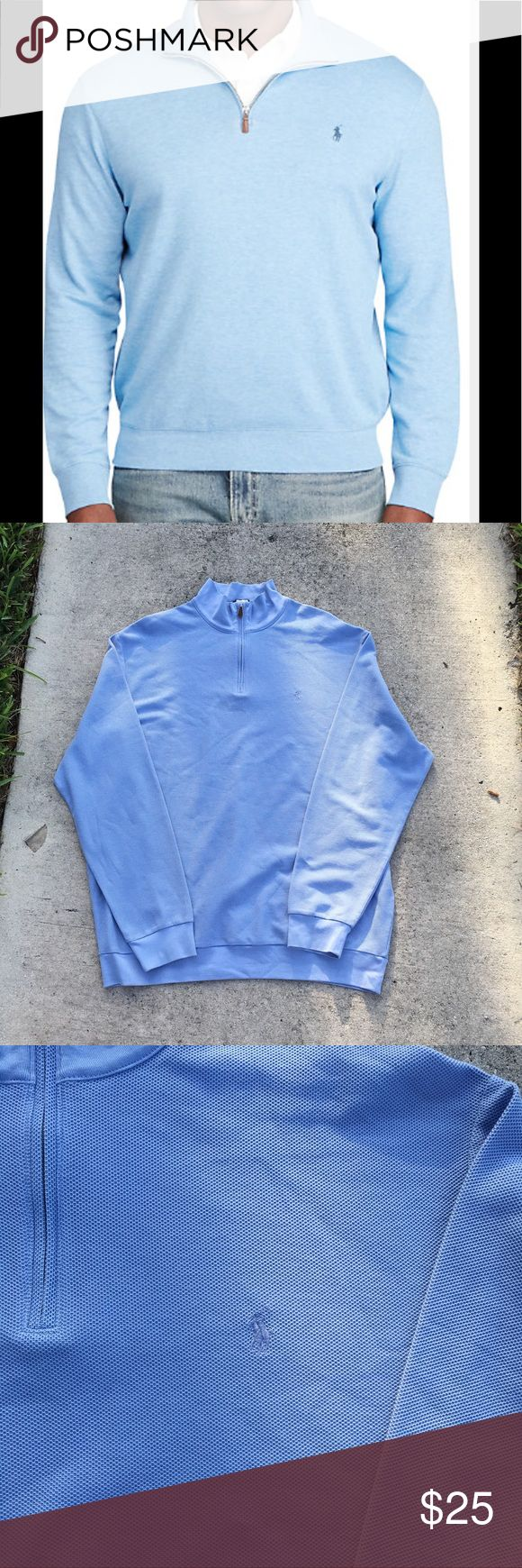 Ralph Lauren Polo Blue Pullover Sweater Baby blue long sleeve Ralph Lauren Golf Polo. Half zipper front, with collar. Polo emblem on upper right chest. Size XL. No rips, stains, or tears. Note: the model picture is same style, color is just a shade lighter than the one I have for sale. Ralph Lauren Jackets & Coats Lightweight & Shirt Jackets