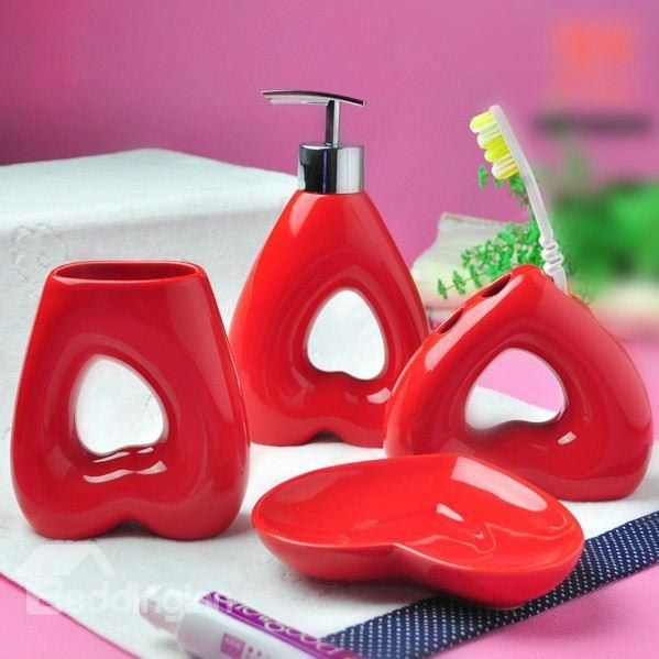 Chic Red Heart Shape Bathroom Accessories
