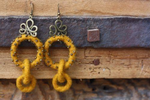 Handmade felted wool earrings / felted wool earrings with glass beads