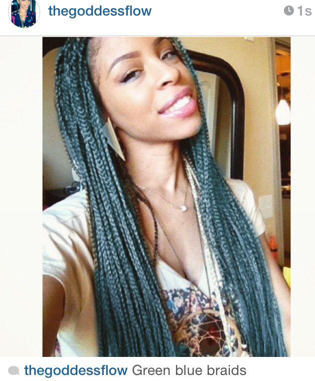Blue Box Braids Turquoise Braids Braids Pinterest