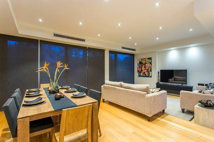 Spacious open plan dining and family area.