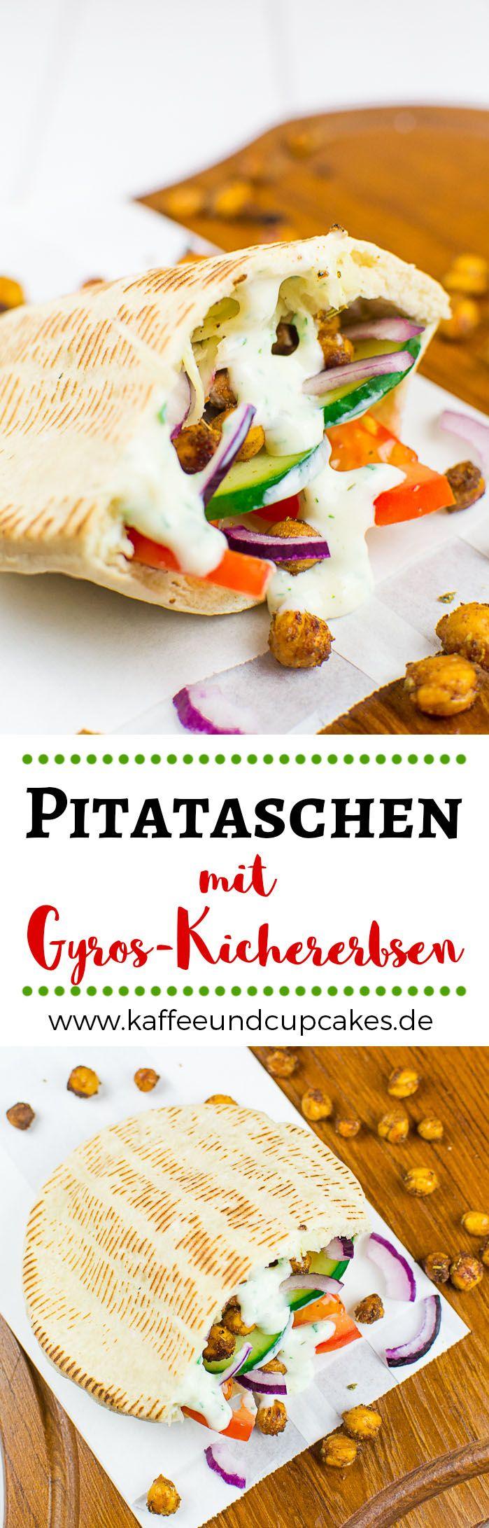 Pitataschen mit gebackenen Gyros-Kichererbsen und selbstgemachter Tsatsiki-Joghurt-Sauce #vegan #vegetarisch #pita #teigtasche #gurke #tomate #zwiebel #brot #sandwich #kichererbsen #joghurt #sojajoghurt #tsatsiki #griechisch #gyros #weißkraut