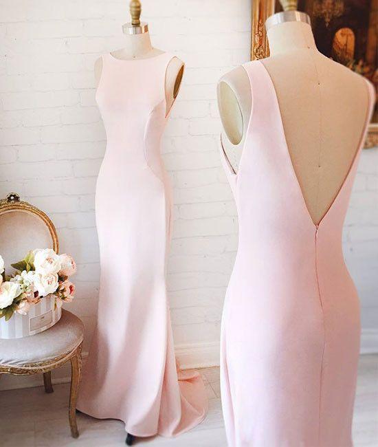 Simple pink mermaid long prom dress, pink formal dress for teens