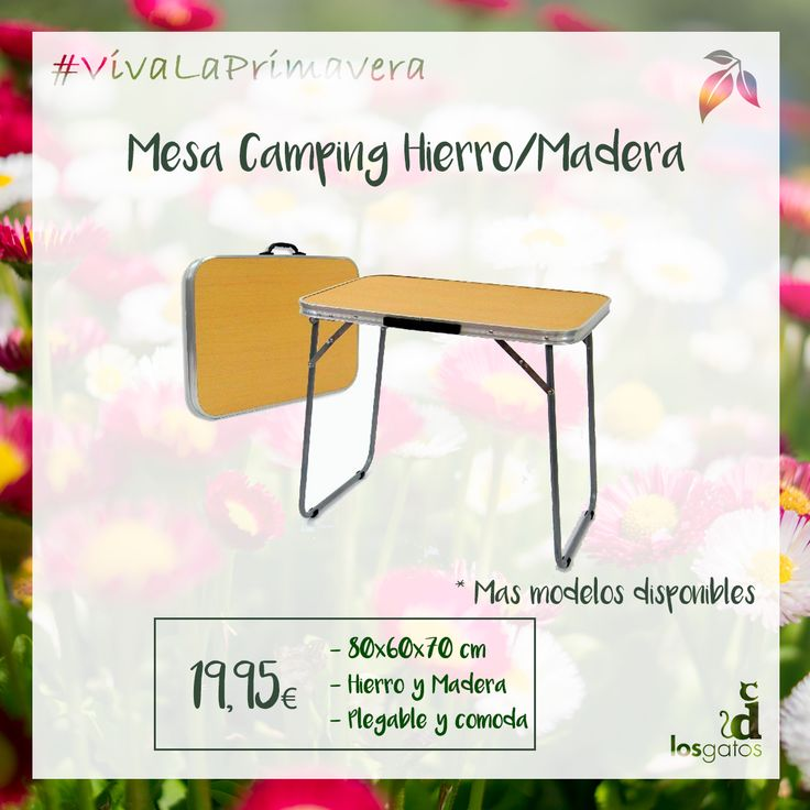 Mesa de camping hierro/madera marca Junisa. Es plegable, cómoda y ocupa poco espacio. Medidas: 80x60x70 cm.