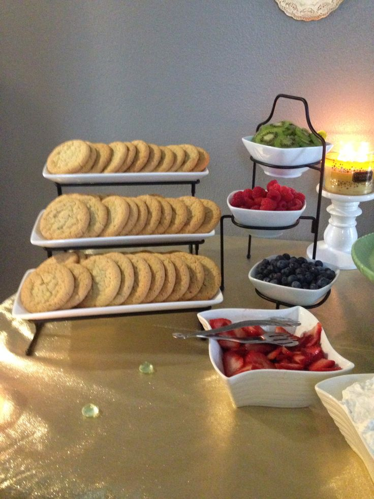 Make your own mini fruit pizza bar! Ambers bridal shower