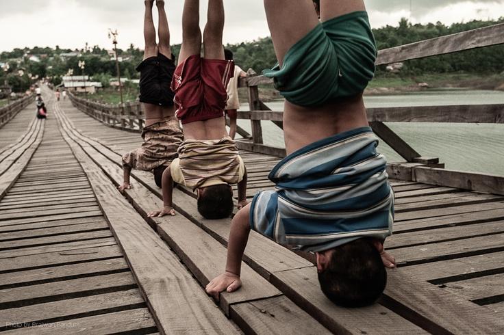 Sangkhlaburi, Thailand | Gymnastics on the bridge | Praiwan Pandum, via 500px