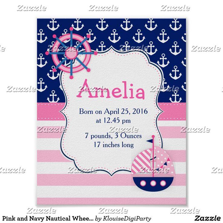 Pink and Navy Nautical Wheel Baby Nursery Wall Art